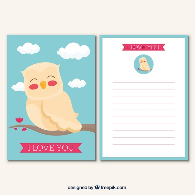 greeting card template with cute owl vector free download