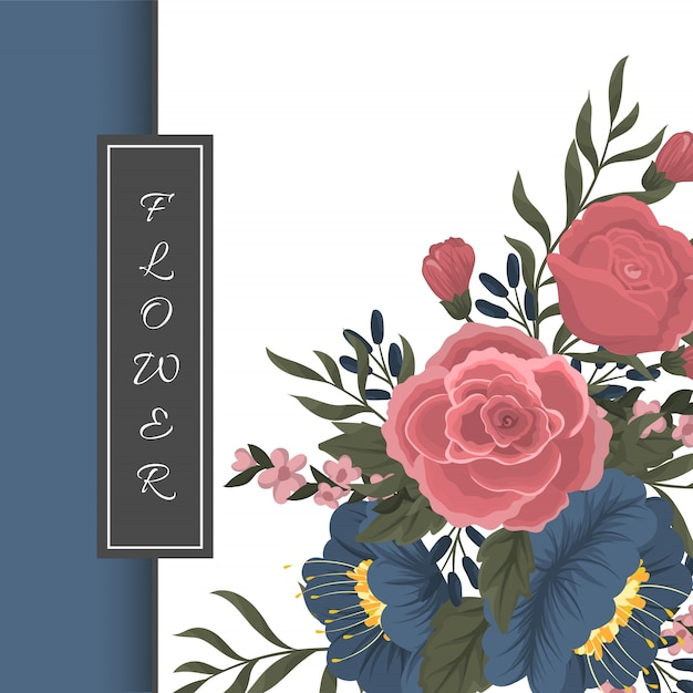 Greeting card template with floral background Vector ...
