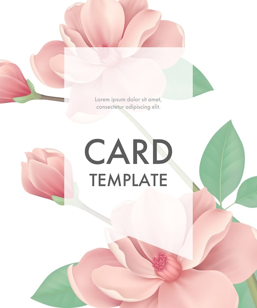 Greeting card template with pink flowers and transparent frame on white background. Free Vector