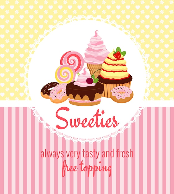 Greeting card template with retro patterns of yellow polka dots and pink stripes around a round frame with desserts Free Vector