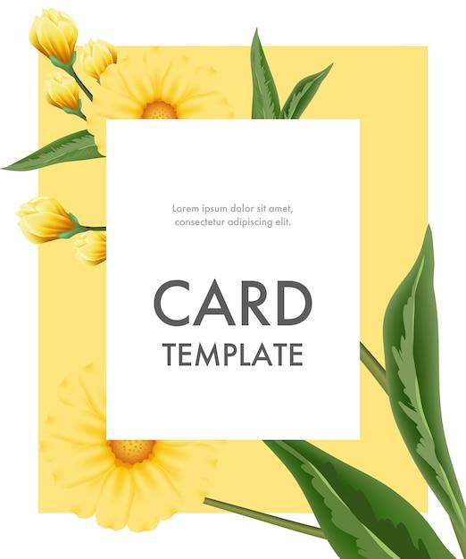 Шаблон поздравительных открыток с желтыми цветами в белой рамке на желтом фоне. Бесплатные векторы