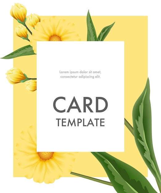 Greeting card template with yellow flowers in white frame on yellow background. Free Vector