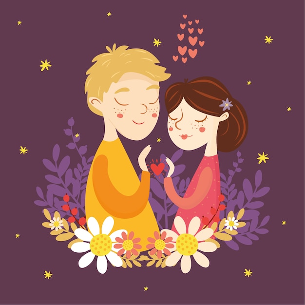 Greeting card for valentine's day. couple in love. boy and girl, heart, love Free Vector