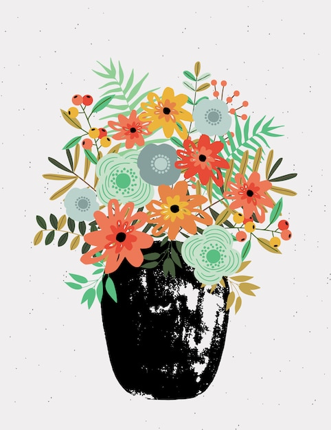 Greeting card with bouquet in vase. Premium Vector