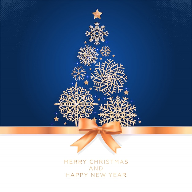Greeting card with christmas tree of glittering snowflakes and golden bow. Premium Vector