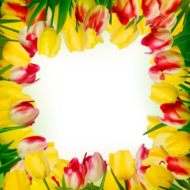 カラフルな花のグリーティングカード。 Premiumベクター