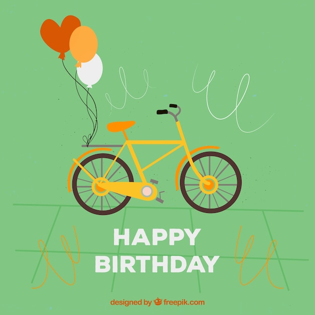 Happy Birthday Editable Card Free Vector Download 15 733: Greeting Card With Cute Bike And Two Balloons Vector