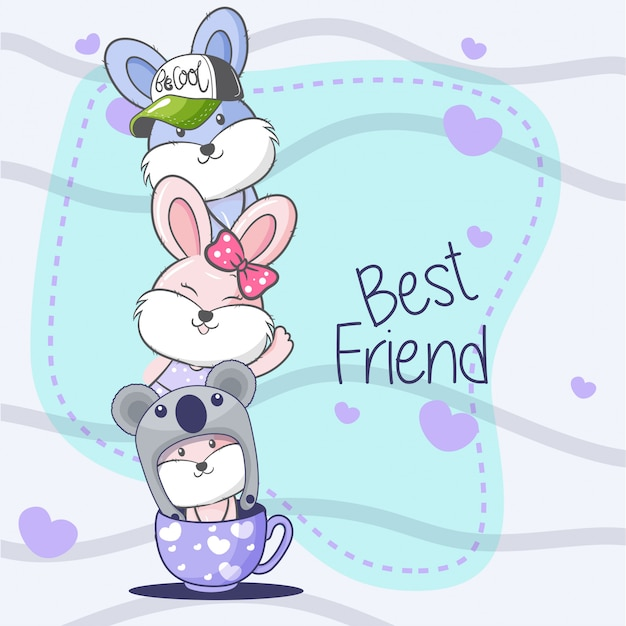 Greeting card with cute cartoon. Premium Vector