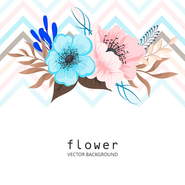 Greeting card with flowers, watercolor. Free Vector