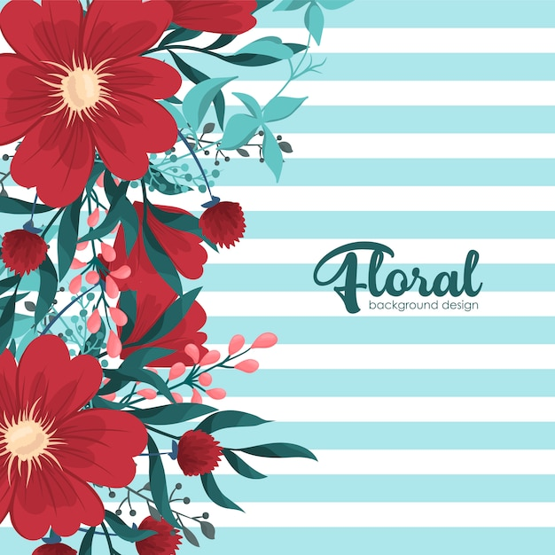 Greeting card with flowers Free Vector