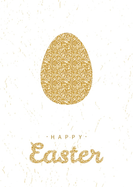 Greeting card with glittering golden easter egg Premium Vector