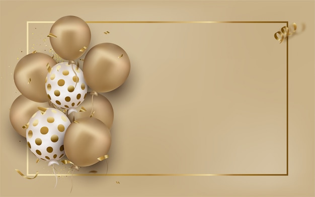 Greeting card with golden balloons on beige Premium Vector