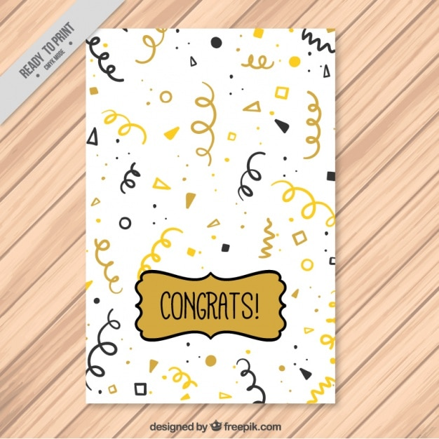 Greeting card with golden and black streamer Free Vector