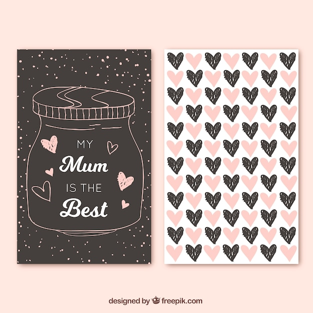 Greeting card with hand-drawn jar and hearts Free Vector