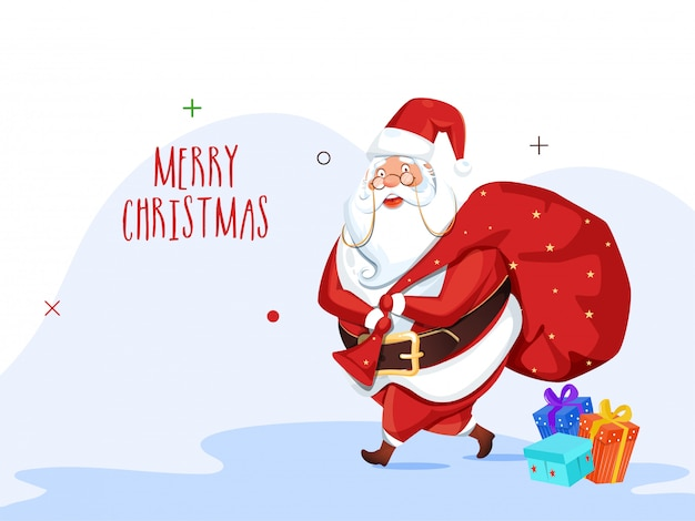 Greeting card  with illustration of santa claus lifting a heavy bag and gift boxes for merry christmas celebration. Premium Vector