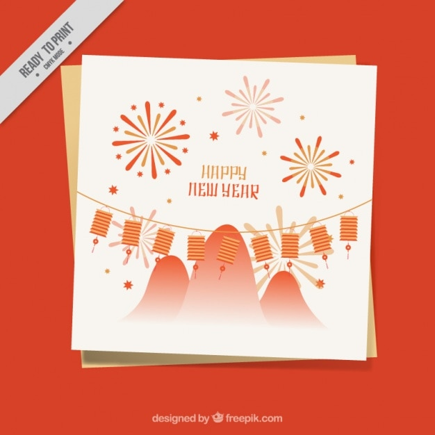 Greeting card with lanterns and fireworks for chinese new year greeting card with lanterns and fireworks for chinese new year free vector m4hsunfo