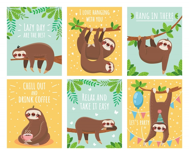 Greeting card with lazy sloth Premium Vector