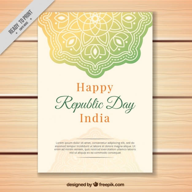 Greeting Card With Mandala For Indian Republic Day Vector Free