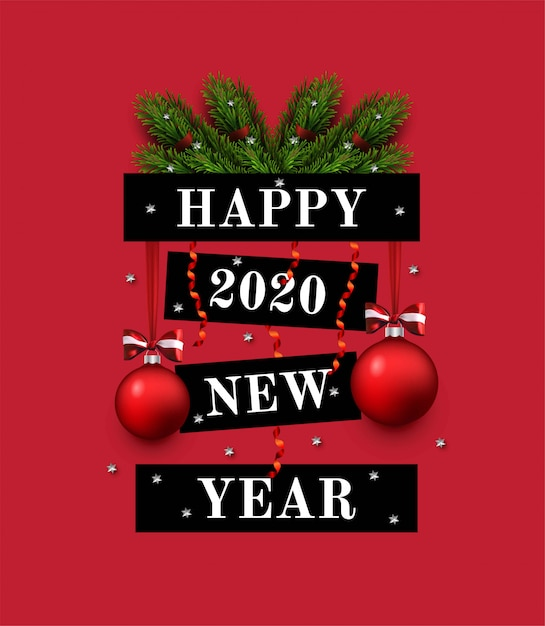 Greeting card with new year greeting, fir branches, decorations. 2020 new year Premium Vector