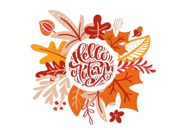 Greeting card with text hello autumn Premium Vector