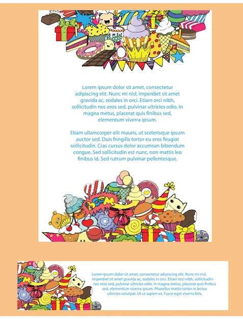 Greeting Cards Birthday Party With Sweets Doodles Background Premium Vector