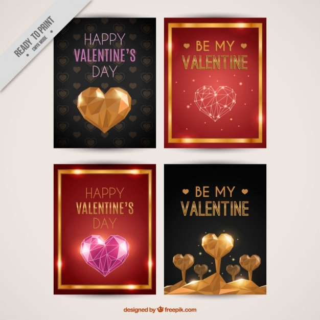 Greeting cards for valentine's day with golden details Free Vector