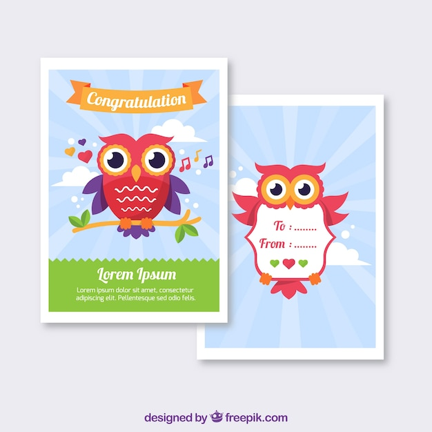 Greeting cards of owls vector free download greeting cards of owls free vector m4hsunfo