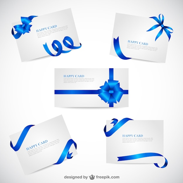 Greeting cards template with blue ribbons Free Vector