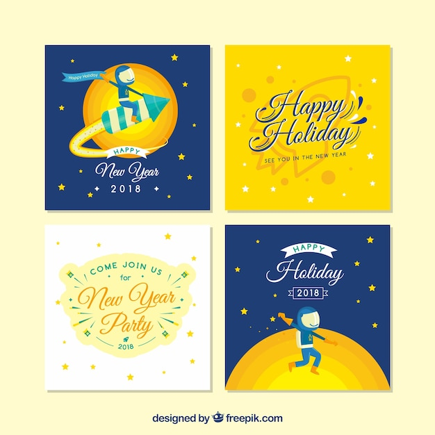 Greeting cards with a cosmos theme for new year