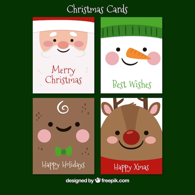 Greeting cards with faces of typical christmas characters Free Vector