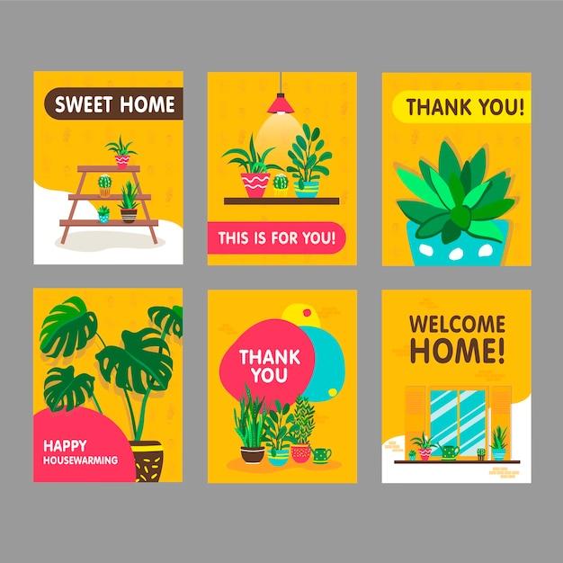 家の植物がセットされたグリーティングカード。鉢植えの観葉植物は、ありがとうとウェルカムホームテキストのイラストをベクトルします。はがきのデザインのための家と新築祝いのコンセプト 無料ベクター