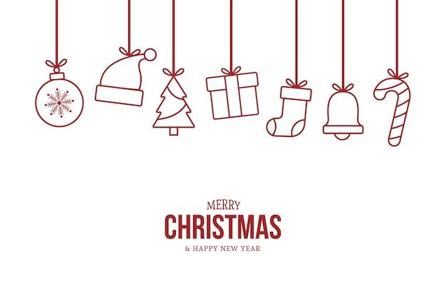 평면 크리스마스 개체와 크리스마스 카드 인사말 무료 벡터