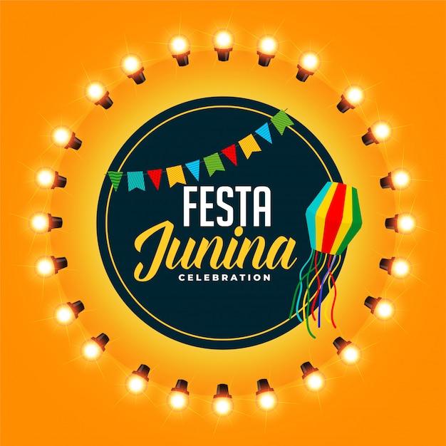 Приветствие дизайн для празднования фестиваля festia junina Бесплатные векторы