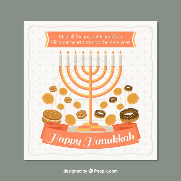 Greeting hanukkah card with sweets and\ candelabra