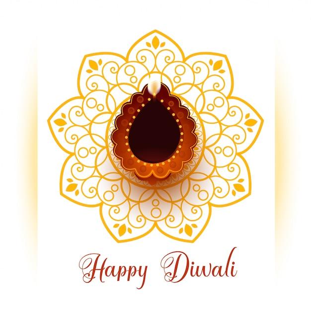 Greeting for happy diwali festival celebration Free Vector
