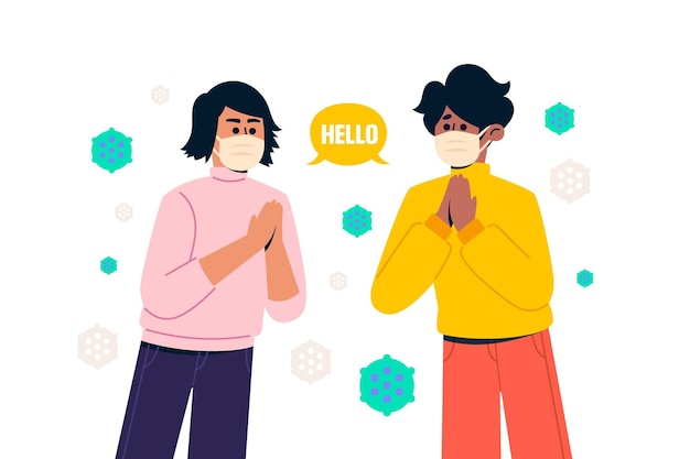 Greeting in the new normal Free Vector