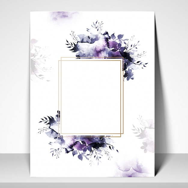 Greeting or Invitation Card template with watercolor flowers Vector