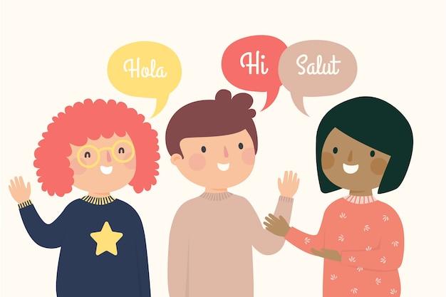 Приветствие людей на разных языках Бесплатные векторы