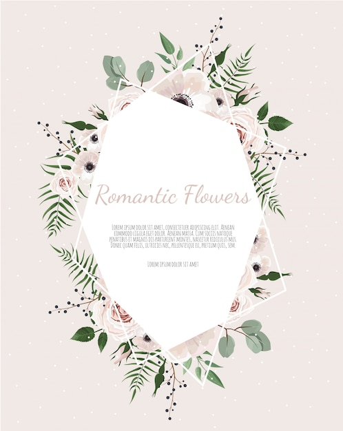 Greeting, postcard wedding invite template. elegant frame with rose and anemone Premium Vector