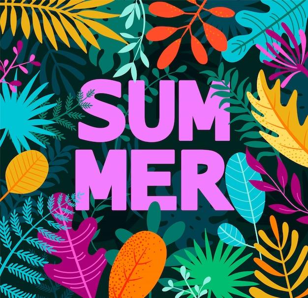 Открытка лето 2019 на тропических листьях. Premium векторы