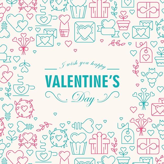 Поздравительная открытка на день святого валентина с пожеланиями счастья и многими значками, такими как сердце, веточка, векторная иллюстрация конверта Бесплатные векторы