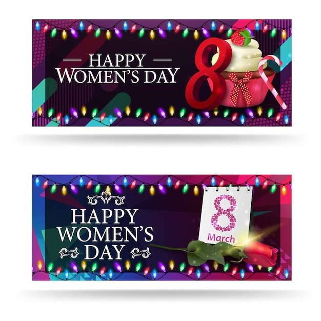 Greeting women's day banners Premium Vector