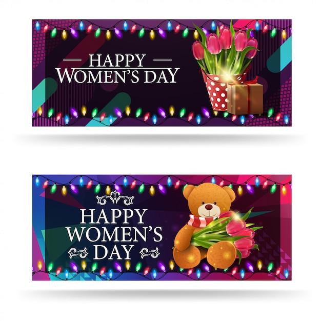 Greeting women's day banners Premium Vector