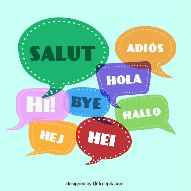 Greetings in different languages Free Vector