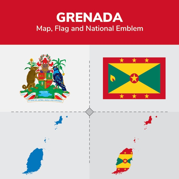 Grenada Map Flag And National Emblem Vector Premium Download - Grenada map download
