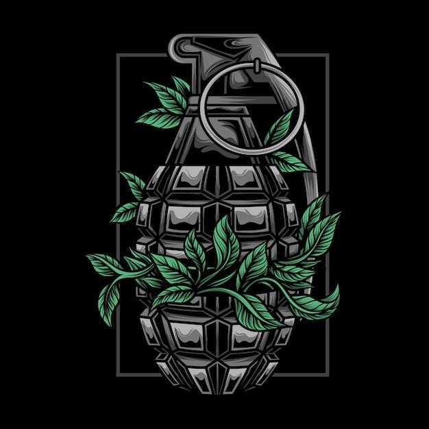 植物と手榴弾のイラスト Premiumベクター