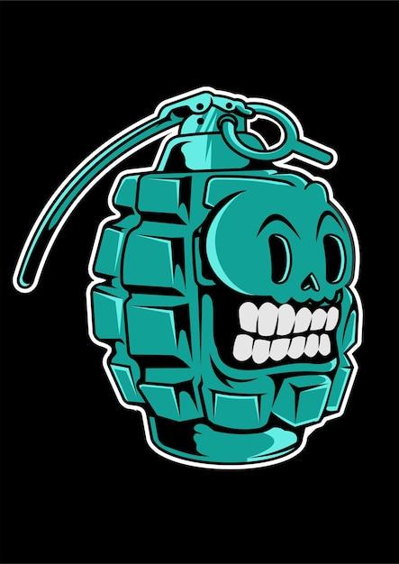 Grenade skull hand drawn illustration Premium Vector