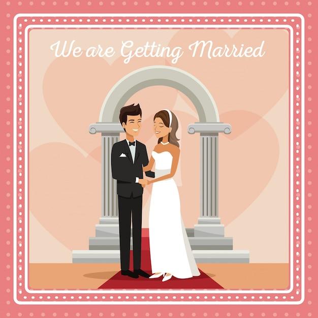 Красочные gretting карты с жениха и невеста обнимаются Premium векторы