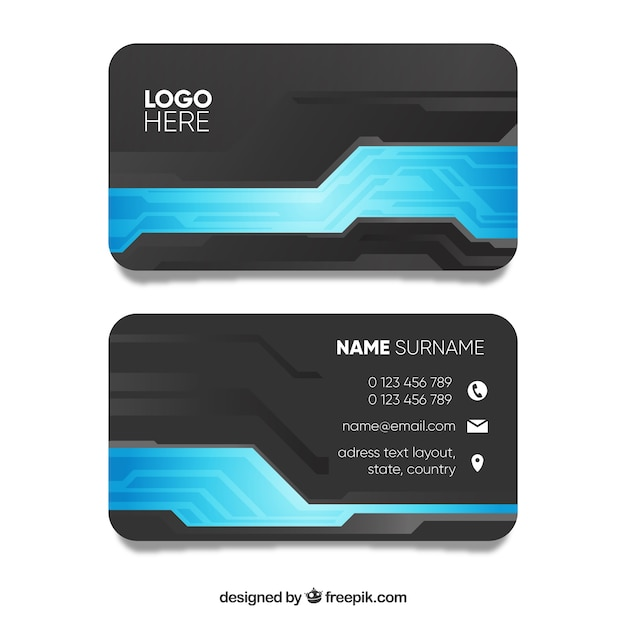 Grey and blue business card template vector free download grey and blue business card template free vector wajeb Choice Image