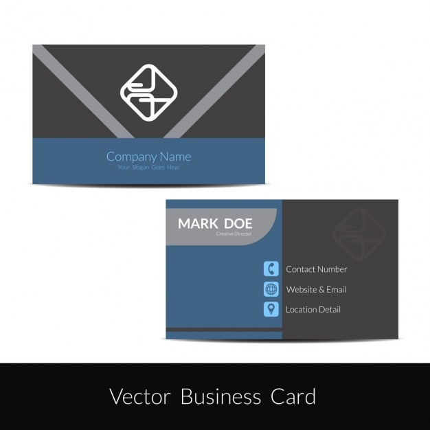 Grey and blue business card